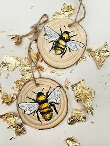 Hand Painted Bee Hangings on Wooden Slices, Home Decor, Manchester Bee