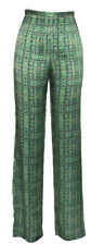 Silk Satin TALL Trousers Green BNWT // 50% OFF SALE // UK Size 8