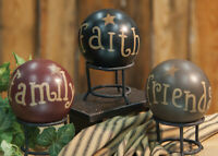 "Decorative Ball Set of 3 Faith Family Friends Barbara Lloyd Primitive Decor 4"""