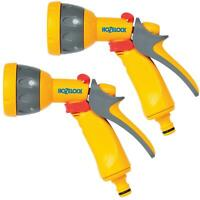 2 x Hozelock Multi Pattern Spray Gun Nozzle for Garden Hose Pipes, Flow Control