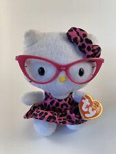 Hello Kitty Ty Beanie Babies Nerd w Glasses Leopard Dress & Bow Original Tags 6�