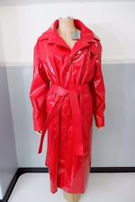 Balenciaga NEW Red Patent Leather Mac Jacket Size Fr36 Uk 8 Trench Belted Vinyl