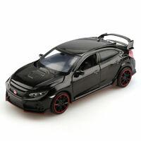 1/32 Honda Civic Type R Metall Die Cast Modellauto Spielzeug Schwarz Pull Back