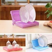 Foldable Dish Plate Drying Rack Organizer Drainer Plastic Storage HolderKitchen