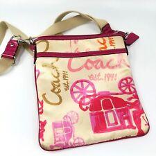Coach Horse Carriage Logo Crossbody Messenger Swing Pack Purse Pink Travel Bag
