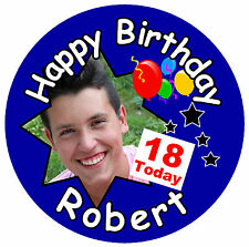 BIG 18TH BIRTHDAY BADGE (MALE) - BIG PERSONALISED BADGE, NAME, PHOTO, NEW