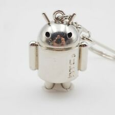 Silver Tone HTC Android Google Robot Figure Eight Split Keychain