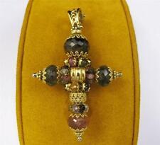18k Yellow Gold Pink Green TOURMALINE CROSS PENDANT ESTATE FILIGREE Charm Beads