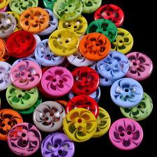 100PCS Resin Buttons Transparent Flower Mixed Color  Sewing Scrapbooking Decors