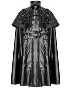 Punk Rave Mens Goth Faux Leather Cloak Coat Black Dieselpunk Steampunk LARP Cape