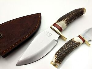 LOUIS SALVATION CUSTOM HANDMADE D2 TOOL STEEL HUNTING KNIFE ANTLER HANDLE DAGGER