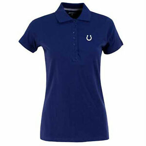 NEW Womens Indianapolis Colts Spark 100% Cotton 6 Button Polo Shirt Royal Blue L