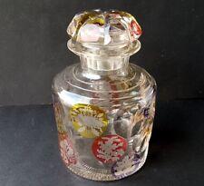 Flakon, gebeiztes Glas, handgraviert, Blumen, EGERMANN, um 1850 AL815