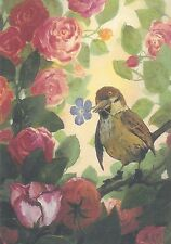 Rare Rudi Hurzlmeier sparrow with flower in roses bird unposted modern postcard