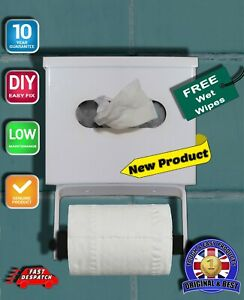 Toilet Roll & Wet Wipe Dispenser-For Toilet/Bathrooms & B&Bs-with Free Wet Wipes