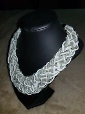 Ladies Necklace White and Silver Costume jewelry