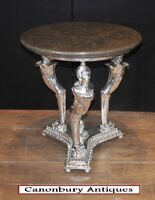 Empire Occasional Table - Silver Plate Side Maiden Legs