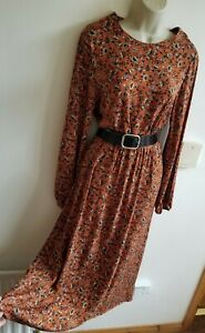 New Stunning Sienna Size 10 Belted Paisley Brown ASOS Midax Dress Vtg Ditsy