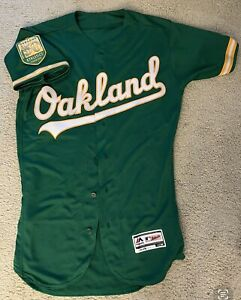 Authentic Oakland A's Alternate GREEN Flex Base Jersey Athletics w/50th Patch 40