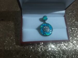 925 sterling silver opal inlay white sapphire pendant
