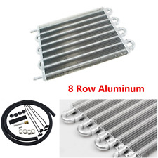 Car 8 Row Radiator Remote Aluminum Transmission Oil Cooler w/Hose Mounting Kit