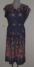 Neues  Damenkleid Hängekleid  Gr.40 kurz Arm  blau gemustert Polyester   Nr.4696