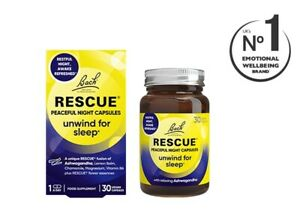 Bach Rescue Peaceful Night Capsules - Unwind For Sleep (30) BBE 06/2023