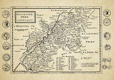 Glocestershire  County Map by Herman Moll 1724 - Reproduction