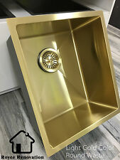 440*380*200mm Gold Color Single Bowl Under Mount / Drop In Kitchen Laundry Sink