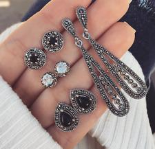 4Pair/Set Lady Bohemian Black Diamond Long Retro Water Drop Dangle Earrings Stud