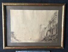 """Lavis du XIXe """"Personnage dans un paysage de ruines en bord de fleuve"""""""