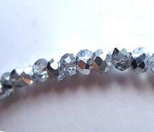 KRISTALL Glasperlen 6 mm Silber - Transparent, 100 Stück, Perlen durchsichtig