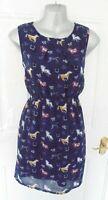MELA LOVES LONDON Size 12 Navy Blue Mustard Horse Print Tea Dress Lined
