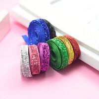 "8Yds Assorted Color 3/8"" Glitter Velvet Ribbon Headband Clips Bow Decoration"
