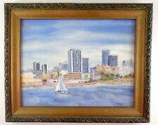 Miami Florida Skyline City Oil Painting Signed V Thompson 1969 - Vintage 1960s