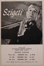 Joseph Szigeti classical concert handbill Sf Opera House Jan 13 violin rare