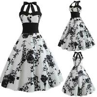 Party Retro halter Dress floral vintage Swing women Sleeveless Dresses Party