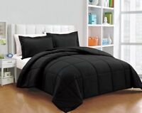 Black Solid 5PC Bed Set (Comforter & Sheet Set) US Sizes 1000TC Egyptian Cotton