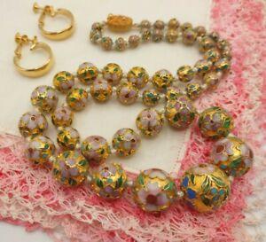 "Vintage 20"" Rare Graduated Chinese Deep Enamel Cloisonne Beads Necklace Signed &"