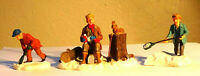 LEMAX Christmas Village Collectible Resin Figures Woodsman and Boys in Snow