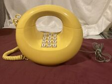 Vtg Yellow Doughnut Telephone Works Great Push Button No Reserve