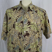 Tori Richard Honolulu Aloha 100% Cotton Lawn Hawaiian Palm Leaf Shirt Sz L EUC