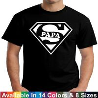 SUPER PAPA Funny Dad Grandpa Fathers Day Birthday Christmas Gift Tee T Shirt