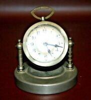 Vintage German Pewter Swivel Miniature Desktop Alarm Clock - As-Is Not Working