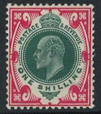 Edw VII SG257 1/- Green & Carmine. UNMOUNTED MINT. Full Vibrant Colours. (271)