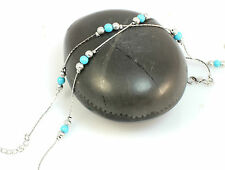 Boho Turquoise Beads Silver Plated  Ankle Bracelet, 1 piece Anklet