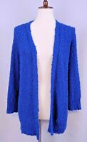 Chicos Cardigan Size 2 Blue Open Front Nubby Textured Fuzzy Knit Sweater