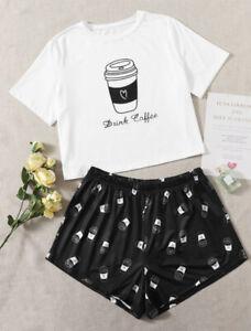 Brand new-Shein-Ladies Short Sleeve DRINK COFFEE Shortie Pyjamas size 24-26-5XL
