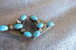 """NAVAJO STERLING SILVER TURQUOISE COLLAR TIP POINTS 7/8"""" BY 1"""" NAVAJO TIPS"""