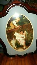 New listing Beautiful Wood Framed Picture 3 Toddlers and a Dog